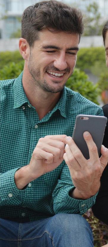 Man with social media phone